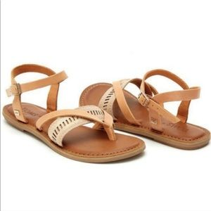 Toms Lexie Sandals in Metallic Gold and Tan